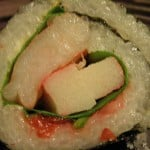 Umeboshi, spinach and crab roll